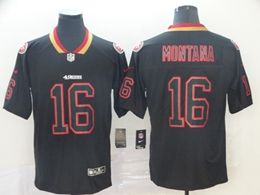 Mens Nfl San Francisco 49ers #16 Joe Montana Lights Out Black Vapor Untouchable Limited Jersey