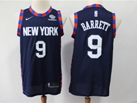 Mens New Season Nba New York Knicks #9 R.j. Barrett Dark Blue City Edition Printed Nike Jersey