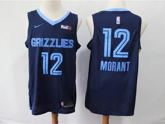 Mens New Season Nba Memphis Grizzlies #12 Ja Morant Dark Blue Nike Swingman Jersey