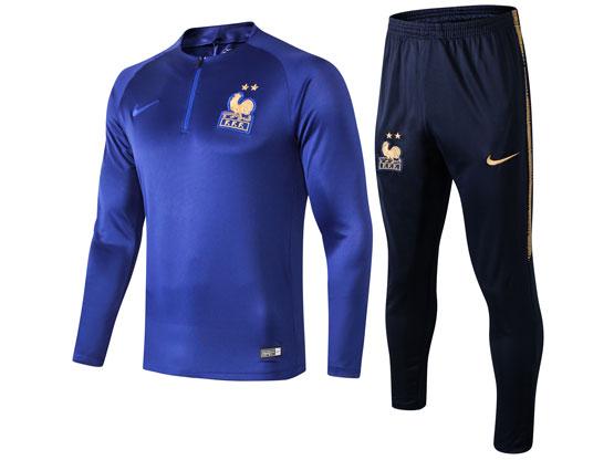 Mens 19-20 Soccer France National Team Blue Training And Blue Sweat Pants Training Suit ( Half Zipper )