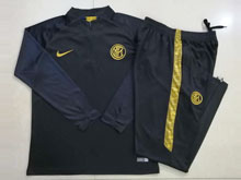 Mens 19-20 Soccer Inter Milan Club Black Training And Black Sweat Pants Training Suit ( Half Zipper )