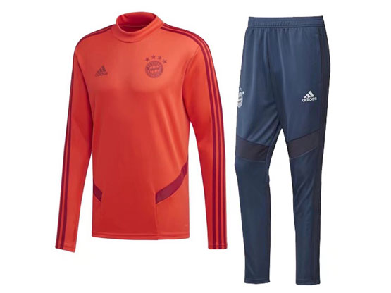 Mens 10-20 Soccer Bayern Munchen Club Orange Training And Blue Sweat Pants Training Suit ( High Collar )