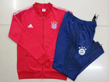 Mens 19-20 Soccer Bayern Munchen Club Red Jacket And Blue Sweat Pants Training Suit ( Long Zipper )