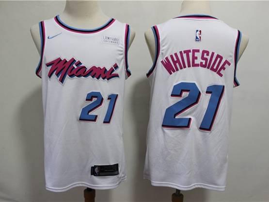 Mens 2019 Nba Miami Heat #21 Hassan Whiteside White City Edition Nike Swingman Jersey