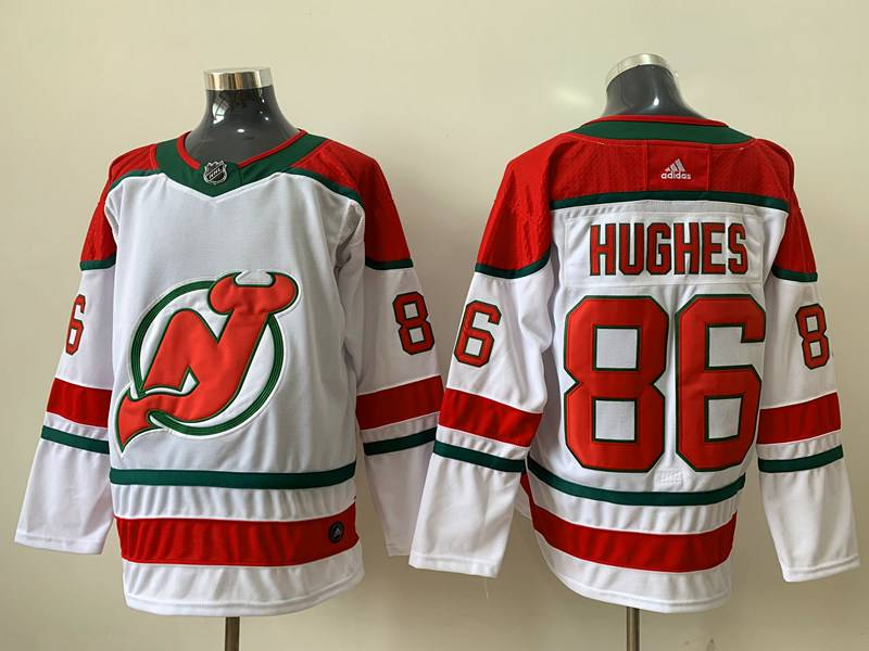 Mens Nhl New Jersey Devils #86 Jack Hughes White Fanatics Branded Alternate Breakaway Adidas Jersey