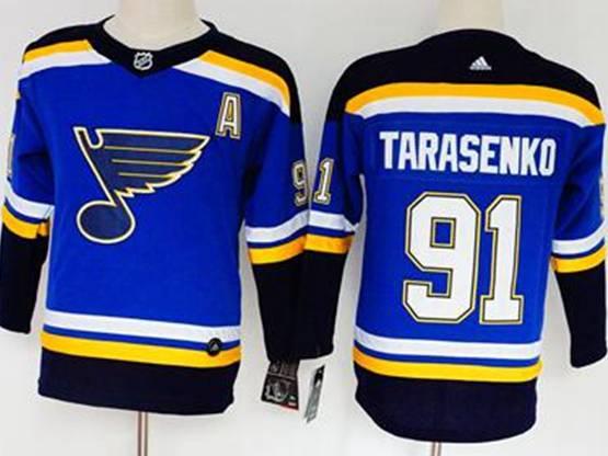 Women Youth Nhl St.louis Blues #91 Vladimir Tarasenko Blue Adidas Jersey