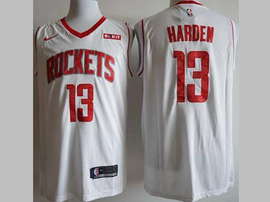 Mens New Season Nba Houston Rockets #13 James Harden White Nike Swingman Jersey