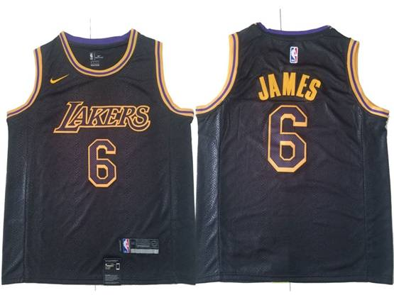 Mens 2019 New Nba Los Angeles Lakers #6 James Black City Edition Swingman Nike Jersey