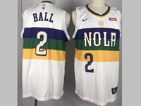 2019 Mens New Orleans Hornets #2 Ball White City Edition Jersey