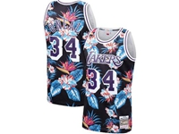 Mens Nba Los Angeles Lakers #34 Oneal Mitchell & Ness Floral Fashion Mesh Jersey