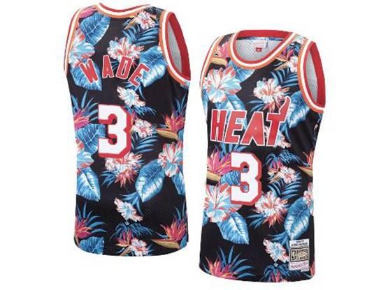 Mens Nba Miami Heat #3 Dwyane Wade Mitchell & Ness Floral Fashion Mesh Jersey