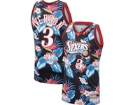 Mens Nba Philadelphia 76ers #3 Allen Iverson Mitchell & Ness Floral Fashion Mesh Jersey