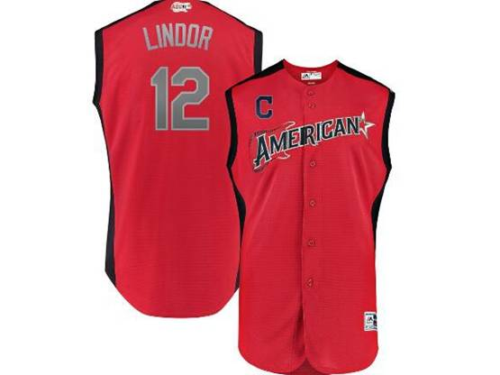 Mens 2019 Mlb All Star Game Cleveland Indians #12 Francisco Lindor Red Sleeveless Cool Base Jersey
