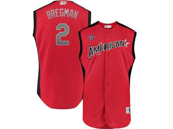 Mens 2019 Mlb All Star Game Houston Astros #2 Alex Bregman Red Sleeveless Cool Base Jersey