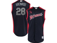Mens 2019 Mlb All Star Game Colorado Rockies #28 Nolan Arenado Blue Sleeveless Cool Base Jersey