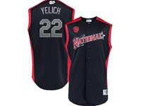 Mens 2019 Mlb All Star Game Milwaukee Brewers #22 Christian Yelich Blue Sleeveless Cool Base Jersey