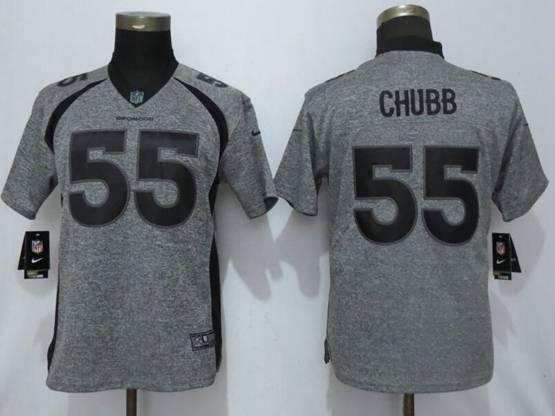 Women Nfl Denver Broncos #55 Bradley Chubb Stitched Gridiron Gray Vapor Untouchable Limited Nike Jersey