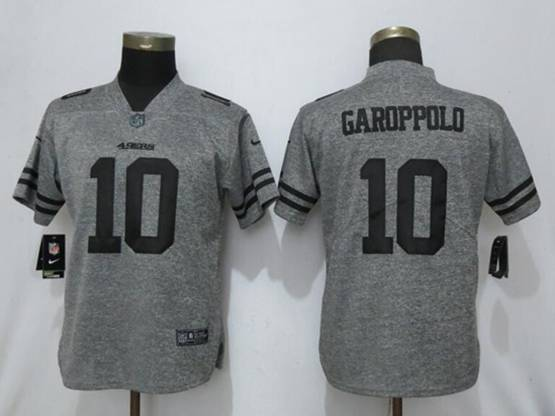 Women Nfl San Francisco 49ers #10 Jimmy Garoppolo Stitched Gridiron Gray Vapor Untouchable Limited Nike Jersey