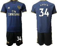 Mens 19-20 Soccer Arsenal Club #34 Xhaka Navy Blue Away Short Sleeve Suit Jersey