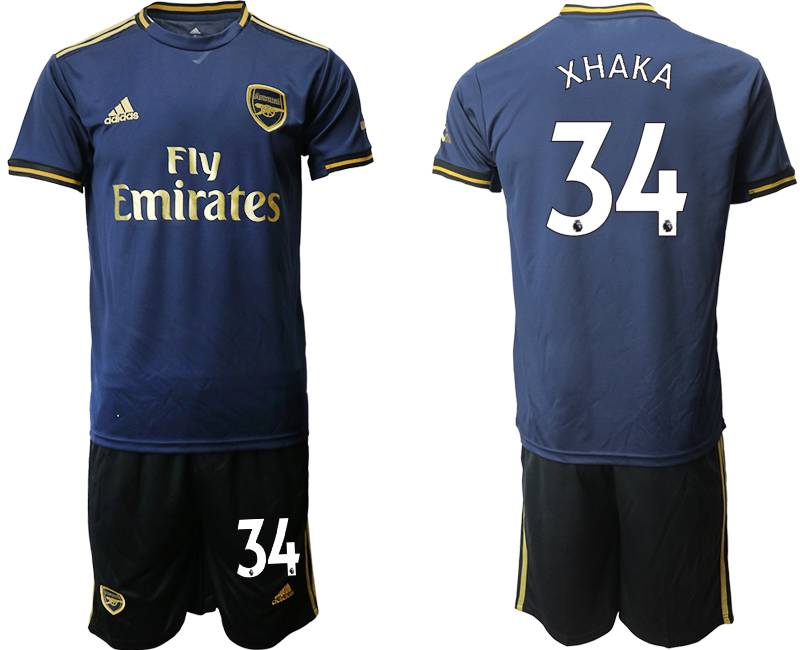 Mens 19-20 Soccer Arsenal Club #34 Xhaka Navy Blue Away Short Sleeve Suit Jersey
