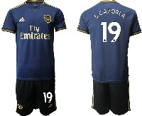Mens 19-20 Soccer Arsenal Club #19 S.cazorla Navy Blue Away Short Sleeve Suit Jersey