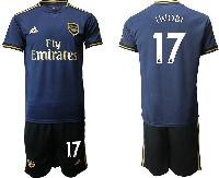 Mens 19-20 Soccer Arsenal Club #17 Iwobi Navy Blue Away Short Sleeve Suit Jersey