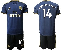 Mens 19-20 Soccer Arsenal Club #14 Aubameyang Navy Blue Away Short Sleeve Suit Jersey