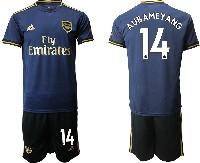 Mens 19-20 Soccer Arsenal Club #14 Aubameyang Navy Blue Away Short Sleeve Suit Jersey