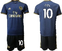 Mens 19-20 Soccer Arsenal Club #10 Ozil Navy Blue Away Short Sleeve Suit Jersey