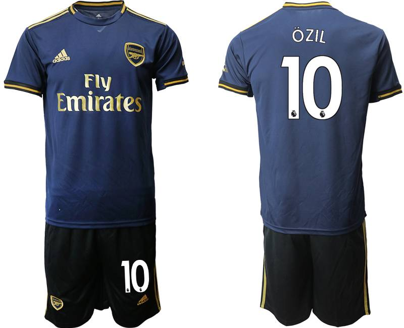 Mens 19-20 Soccer Arsenal Club #10 Ozil Navy Blue Away Short Sleeve Suit Jersey