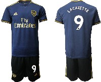 Mens 19-20 Soccer Arsenal Club #9 Lacazette Navy Blue Away Short Sleeve Suit Jersey