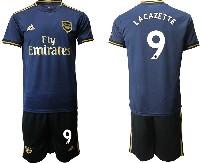 Mens 19-20 Soccer Arsenal Club #9 Lacazette Navy Blue Away Short Sleeve Suit Jersey