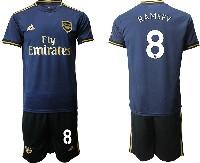 Mens 19-20 Soccer Arsenal Club #8 Ramsey Navy Blue Away Short Sleeve Suit Jersey