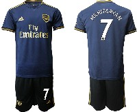 Mens 19-20 Soccer Arsenal Club #7 Mkhitaryan Navy Blue Away Short Sleeve Suit Jersey