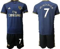 Mens 19-20 Soccer Arsenal Club #7 Mkhitaryan Navy Blue Away Short Sleeve Suit Jersey
