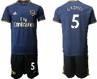 Mens 19-20 Soccer Arsenal Club #5 Gabriel Navy Blue Away Short Sleeve Suit Jersey