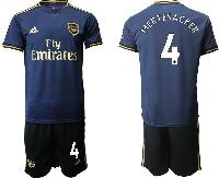 Mens 19-20 Soccer Arsenal Club #4 Mertesacker Navy Blue Away Short Sleeve Suit Jersey