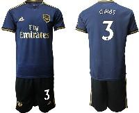 Mens 19-20 Soccer Arsenal Club #3 Gibbs Navy Blue Away Short Sleeve Suit Jersey