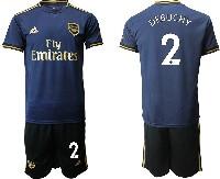 Mens 19-20 Soccer Arsenal Club #2 Debuchy Navy Blue Away Short Sleeve Suit Jersey