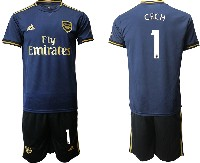 Mens 19-20 Soccer Arsenal Club #1 Cech Navy Blue Away Short Sleeve Suit Jersey