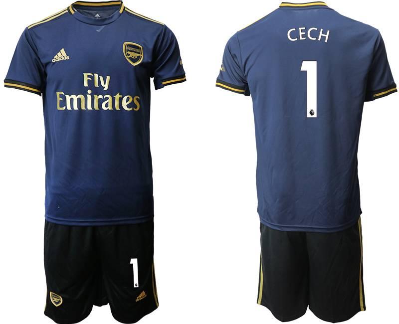 Mens 19-20 Soccer Arsenal Club #1 Cech Navy Blue Away Short Sleeve Suit Jersey
