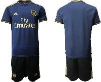 Mens 19-20 Soccer Arsenal Club ( Blank ) Navy Blue Away Short Sleeve Suit Jersey