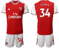 Mens 19-20 Soccer Arsenal Club #34 Xhaka Red Home Short Sleeve Suit Jersey
