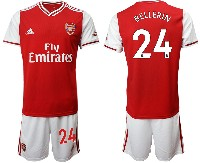 Mens 19-20 Soccer Arsenal Club #24 Bellerin Red Home Short Sleeve Suit Jersey