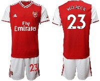 Mens 19-20 Soccer Arsenal Club #23 Welbeck Red Home Short Sleeve Suit Jersey