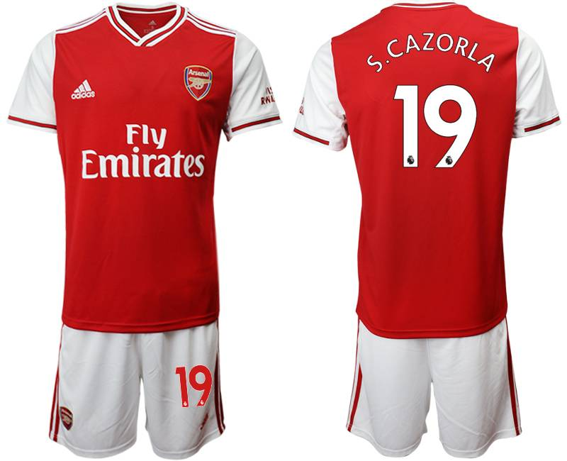 Mens 19-20 Soccer Arsenal Club #19 S.cazorla Red Home Short Sleeve Suit Jersey