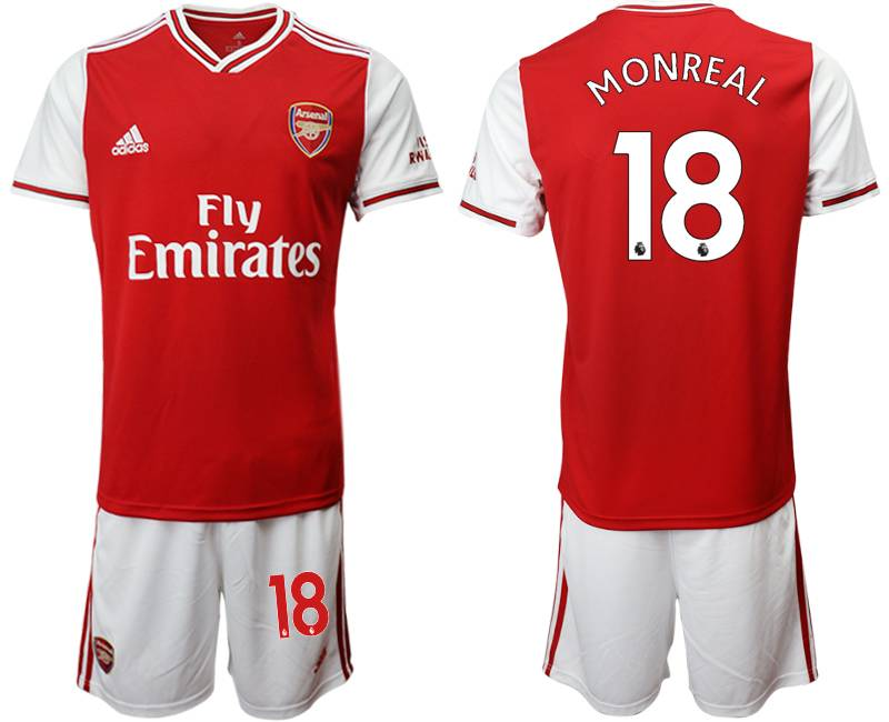 Mens 19-20 Soccer Arsenal Club #18 Monreal Red Home Short Sleeve Suit Jersey