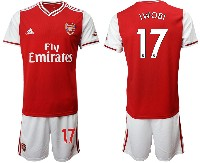 Mens 19-20 Soccer Arsenal Club #17 Iwobi Red Home Short Sleeve Suit Jersey