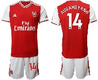 Mens 19-20 Soccer Arsenal Club #14 Aubameyang Red Home Short Sleeve Suit Jersey
