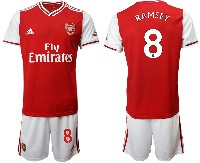Mens 19-20 Soccer Arsenal Club #8 Ramsey Red Home Short Sleeve Suit Jersey